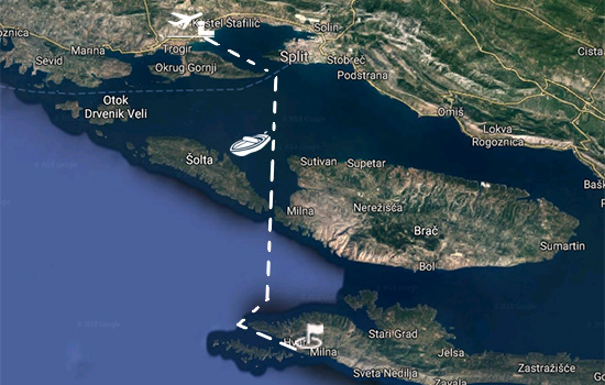 Speedboat route from Split to Hvar