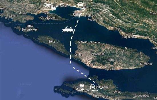 Feeryboat route from Split to Hvar